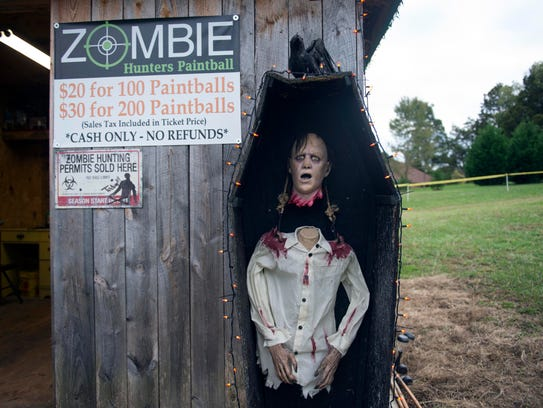A Halloween decoration greets guests when they arrive