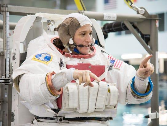 NASA astronaut Dr. Serena Auñón-Chancellor awaits the