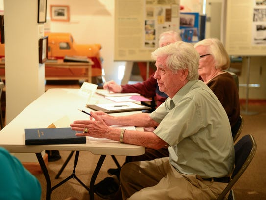Members of the community attend a memoir-writing course taught by Rae Tyson, a local journalist who teaches a memoir-writing courses.