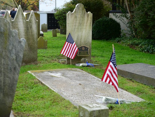 The Sons of the American Revolution, Caesar Rodney Chapter held a Patriot grave marking and memorial service for local Revolutionary War patriots on Saturday, Nov. 4, 2017 at the Lewes Presbyterian Cemetery.
