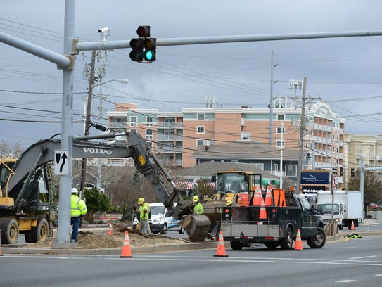 The Maryland State Highway Administration prepares to start construction on a dune-style median fence project for Coastal Highway in Ocean City on Wednesday, Nov. 15, 2017.