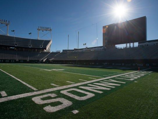 The sun hangs above CSU Stadium before CSU takes San