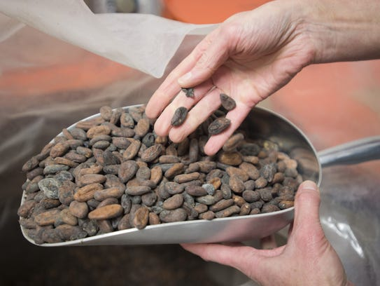 Raw cacao beans are stored at Nuance's production facility