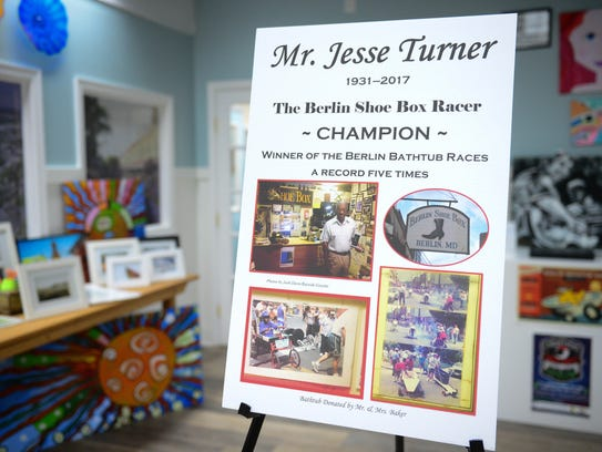 Jesse Turner's award-winning bathtub racer can now be seen at the Berlin Welcome Center on Main Street.