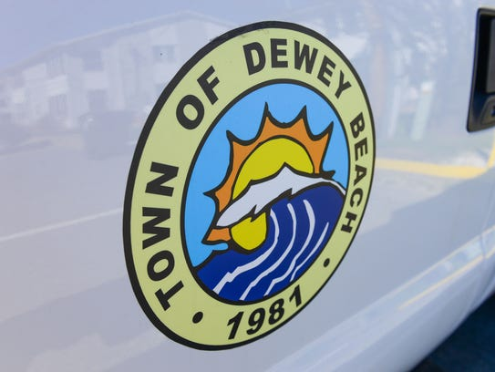 Town of Dewey Beach logo on the side of a town vehicle.