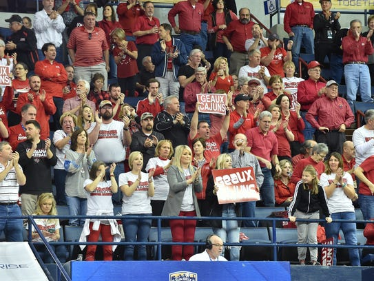 Cajun fans root for UL in its Sun Belt Tournament quarterfinal win over Texas State on Friday at Lakefront Arena in New Orleans.