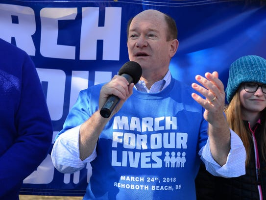 Sen. Chris Coons speaks during the March for our Lives in Rehoboth Beach, Del. on Saturday, March 24, 2018.