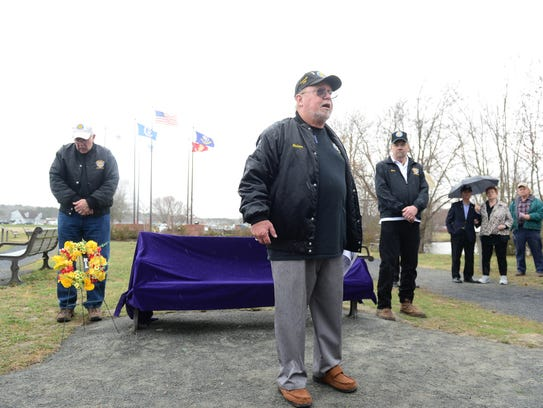 Nelson Kelly, president of the Vietnam Veterans of America Chapter 1091 speaks during a memorial bench dedication to the eight Worcester County veterans who gave their all during the Vietnam War on Friday, March 30, 2018 at the Worcester County Veterans Memorial in Ocean Pines, Md.