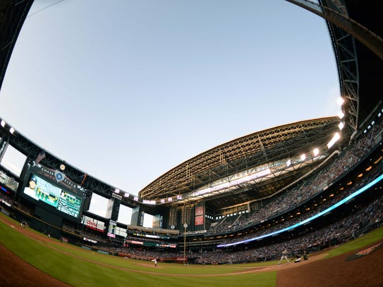 A view inside Chase Field with the roof open before