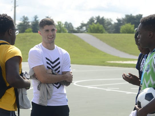 Christian Pulisic, 19, talks to teenagers from Milton