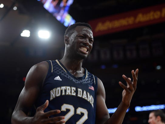 Notre Dame Fighting Irish guard Jerian Grant (22) reacts