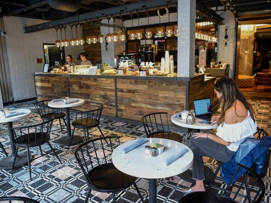The street-level, European-inspired cafe at the Bobby