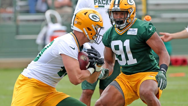 Linebacker Kendall Donnerson (91) during Green Bay Packers minicamp at Ray Nitschke Field Tuesday, June 12, 2018 in Ashwaubenon, Wis.