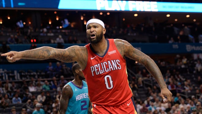 New Orleans Pelicans forward center DeMarcus Cousins (0) reacts to the referee after being fouled during the first half against the Charlotte Hornets at Spectrum Center.