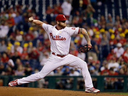 Philadelphia Phillies' Ben Lively pitches during the second inning of a baseball game against the Oakland Athletics, Saturday, Sept. 16, 2017, in Philadelphia. (AP Photo/Matt Slocum)