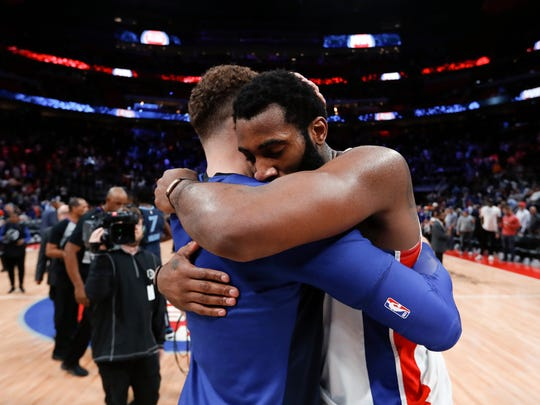 Blake Griffin, left, hugs Andre Drummond after beating the Grizzlies, 100-93, in Detroit, Tuesday.