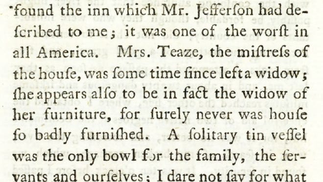 "Excerpt from ""Travels in North America, in the years 1780, 1781 and 1782,"" (p. 76) by the Marquis de Chastellux."