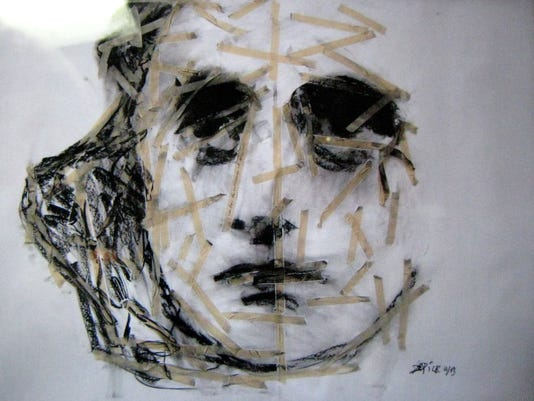Doug_DePice=Portrait of Anne Frank, white with tape.JPG
