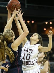 Katie Rideout battles for a rebound during Henderson