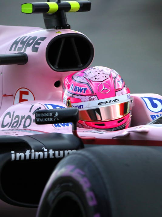 Force India driver Esteban Ocon of France steers his car during the third practice session ahead of the Belgian Formula One Grand Prix in Spa-Francorchamps, Belgium, Saturday, Aug. 26, 2017. (AP Photo/Olivier Matthys)