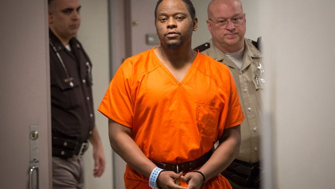 Jeremy Holland, the second man charged in the Feb. 14 slaying of Muncie resident Jeffrey Brown, appears at an initial hearing March 14 in Delaware Circuit Court 5.