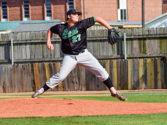 Joe Battaglia on the mound as the Lafayette Lions baseball team takes on Barbe High School in a home conference game. March 24, 2016.
