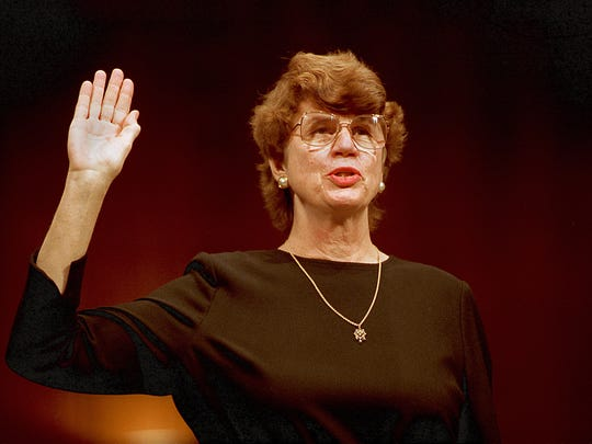 In this Tuesday, March 9, 1993, file photo, U.S. Attorney General-designate Janet Reno is sworn in before the Senate Judiciary Committee on Capitol Hill in Washington. Reno, the first woman to serve as U.S. attorney general and the epicenter of several political storms during the Clinton administration, died early Monday, Nov. 7, 2016. She was 78.