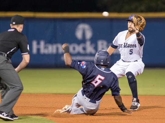 Second baseman Alex Blandino (5) gets set to catch the throw before tagging out Alex Glenn (6) trying to steal second during the Jacksonville Jumbo Shrimp vs Pensacola Blue Wahoos baseball game in Pensacola on Tuesday, April 18, 2017.