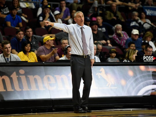 Bobby Hurley coaches his team during the Continental Tire Invitational tournament on Friday in Las Vegas.