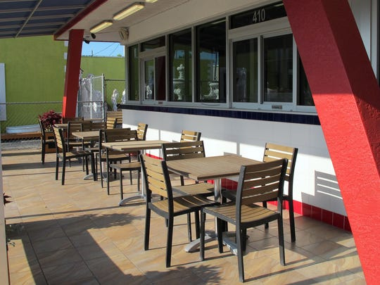Some of the outdoor seating at Schnapper's Hots, which