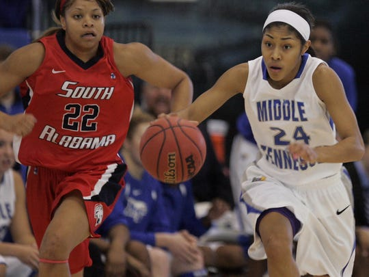 MTSU's Kortni Jones (24) had her single season record for assists passed up this year.