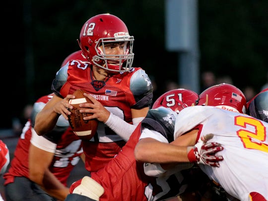Jason Walter prepares to pass the ball in a game against Big Walnut. Johnstown hosted Big Walnut Friday in week one of the high school football season. The Johnnies won 3-0.