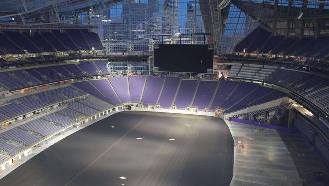 A web cam image shows the interior of U.S. Bank stadium Monday morning.