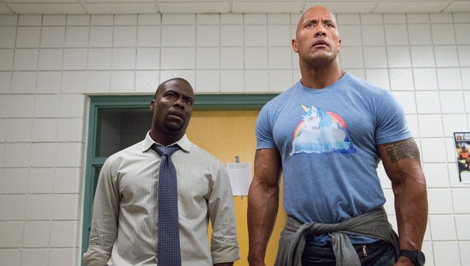 """Kevin Hart, left, and Dwayne Johnson star in """"Central Intelligence."""" The movie is playing at Regal West Manchester Stadium 13, Frank Theatres Queensgate Stadium 13 and R/C Hanover Movies."""