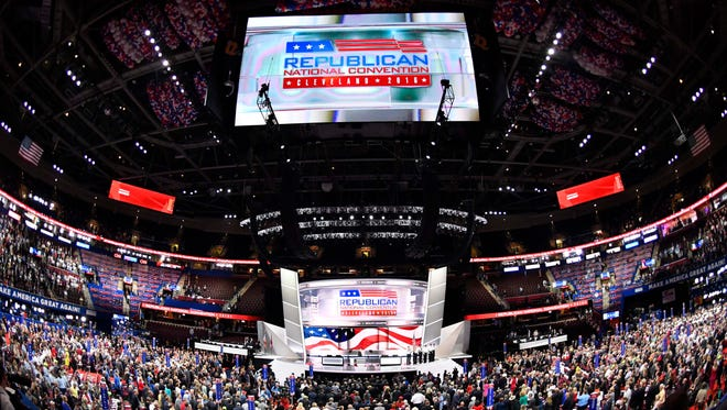 Convention goers gather for the start of the 2016 Republican National Convention at Quicken Loans Arena in Cleveland.
