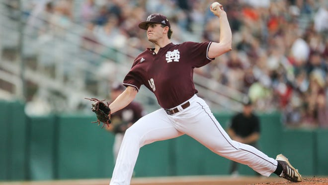 Mississippi State's Konnor Pilkington pitched seven strong innings in a win against Auburn Friday night.