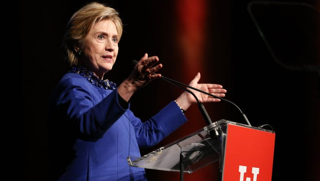 Former U.S. Secretary of State Hillary Clinton speaks onstage at the Ms. Foundation for Women 2017 Gloria Awards Gala & After Party in New York City in May. A recent University of Edinburgh study showed Clinton was three times as likely to be criticized than praised on Twitter in the days leading up to the 2016 presidential election.