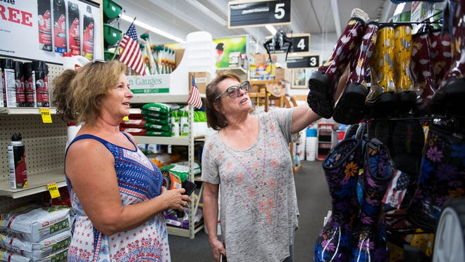 Pamela Angelo and Sharon Ellison shop for supplies ahead of Hurricane Irma in an Ace Hardware on Woodruff Road on Thursday, September 7, 2017.