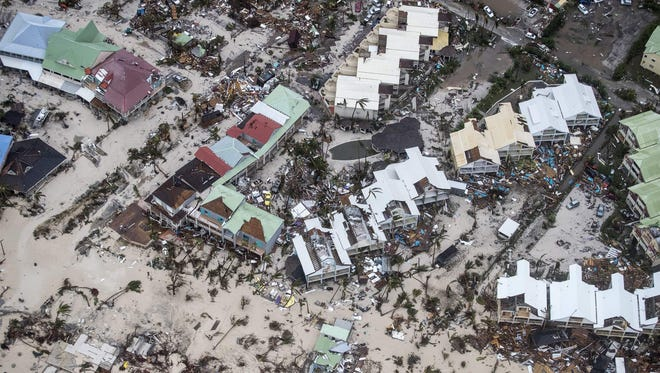 Aerial photograph shows the damage of Hurricane Irma in Philipsburg on the Dutch Caribbean island of Saint Martin on Wednesday.