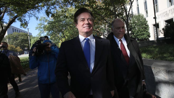Former campaign manager for President Trump, Paul Manafort, leaves court after pleading not guilty following his indictment on federal charges on Oct. 30, 2017 in Washington.