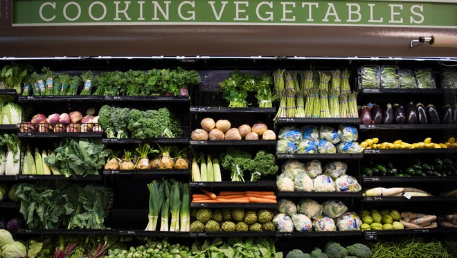 Produce is displayed in a grocery store on Monday, March 26, 2018.