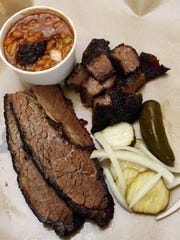 Burnt ends with brisket and beans at City Butcher in