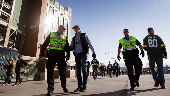 A heightened police presence at Lambeau Field  for Sunday Packers' game in response to the terrorist tracks in Paris