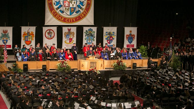 SUU President Scott Wyatt gives a speech in front of the Class of 2015. Southern Utah University held its 2015 graduation on Friday.