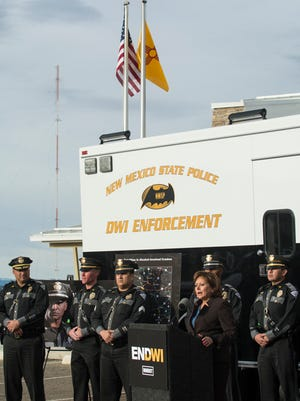 With a backdrop of DWI enforcement, Gov. Susana Martinez carried her message to Las Vegas, NM on Dec. 9, 2015. The governor said that year after year, she calls on the legislature to get tough on DWI, but they refuse to act. If they won't act, she will. She further added that her initiatives will increase law enforcement activity, target the worst of  the worst, and hold the justice system accountable for failing to punish DWI criminals.