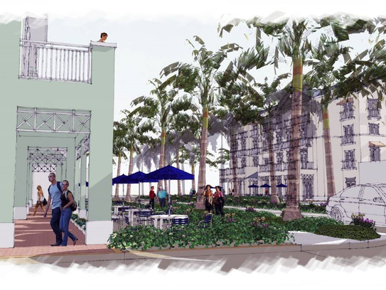 A project bringing new businesses and residents to downtown Bonita Springs is in the works and could begin construction by fall. However, the five-building development faces delays and final City Council approval.