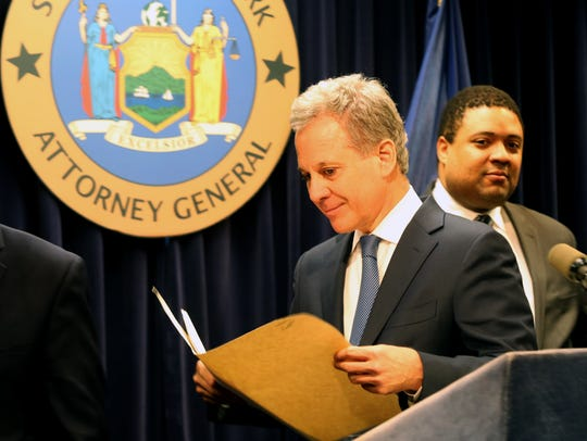 State Attorney General Eric T. Schneiderman announces corruption charges against Mount Vernon Mayor Thomas during a news conference Monday in Manhattan.