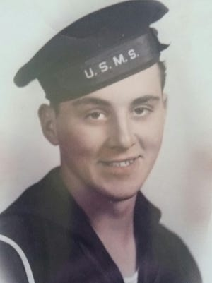 Ralph Dillon in uniform in 1943 during his time serving as an US Merchant Marine.