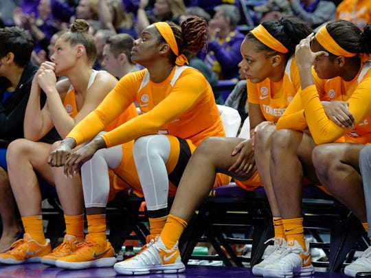 From left to right, Tennessee players Kortney Dunbar, Cheridene Green, Kasiyahna Kushkituah and Kamera Harris watch the closing moments of the fourth quarter of an NCAA college basketball game, Sunday, Jan. 28, 2018, in Baton Rouge, La. (AP Photo/Bill Feig)