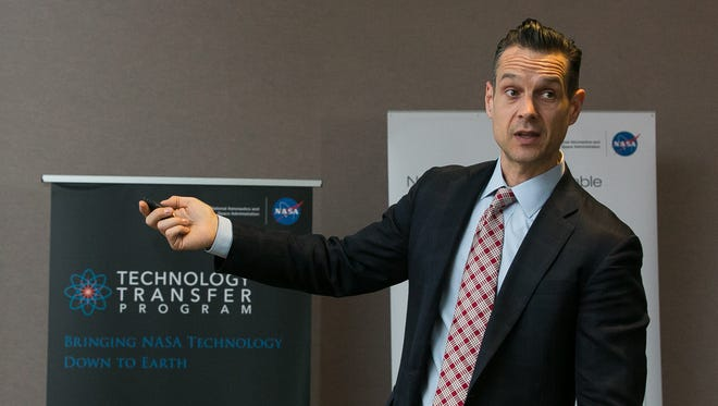 Daniel Lockney, NASA's Technology Transfer program executive and Innovation Office director, speaks at the New Mexico State University student senate chambers on Wednesday, March 9, 2016, during a NASA Technology Transfer road show. During the visit to Las Cruces discussions were had  on how students and entrepreneurs can capitalize on NASA's technology research and development.